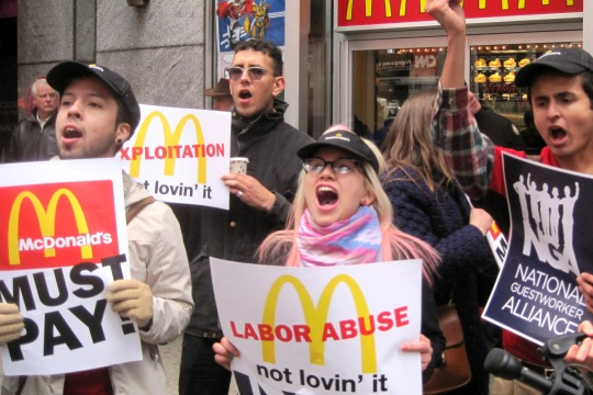 Campaigners against McDonald's pay and conditions in the US